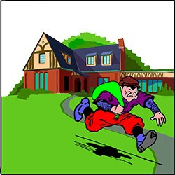 thief running away illustration with a smart automatic lawn mower